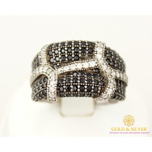 Серебряное кольцо 925 проба. Женское Кольцо Рокко с вставкой черных и белых камней. 15199p , Gold & Silver Gold & Silver, Украина