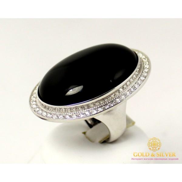 Серебряное кольцо 925 проба. Женское Кольцо с вставкой черный Агат 3,7 см * 3 см 369464c , Gold & Silver Gold & Silver, Украина