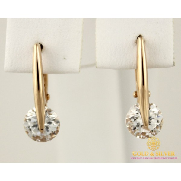 Золотые Серьги 585 проба. Женские серьги с красного золота, Фианит 420151 , Gold & Silver Gold & Silver, Украина