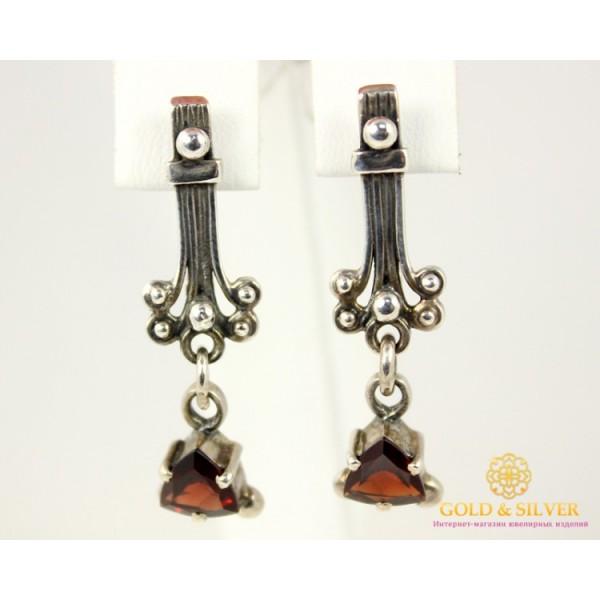 Серебряные Серьги 925 проба. Женские серебряные серьги с вставкой Гранат 2576 , Gold & Silver Gold & Silver, Украина