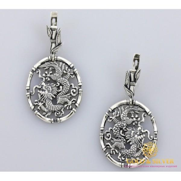 Серебряные Серьги 925 проба. Женские серебряные серьги Дракон, без камней. 2233 , Gold & Silver Gold & Silver, Украина