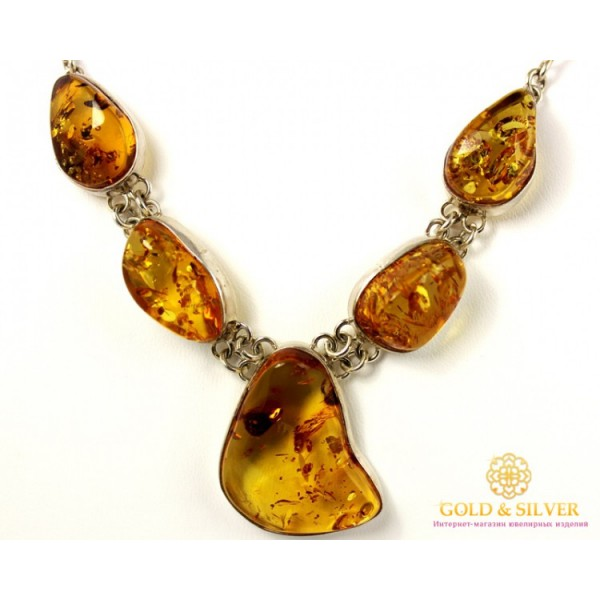 Серебряное Колье Камни Янтаря 3854 , Gold &amp Silver Gold & Silver, Украина