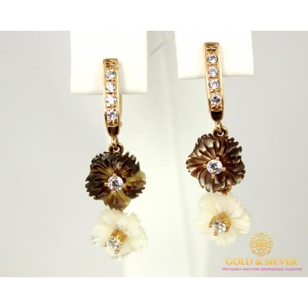 Золотые Серьги 585 проба. Женские серьги с красного золота, с вставкой Перламутр 20346 , Gold & Silver Gold & Silver, Украина