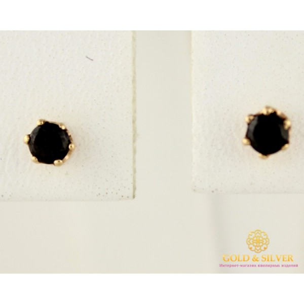 Золотые Серьги 585 проба. Женские серьги с красного золота, Пуссеты Черные Камни 520004 , Gold & Silver Gold & Silver, Украина