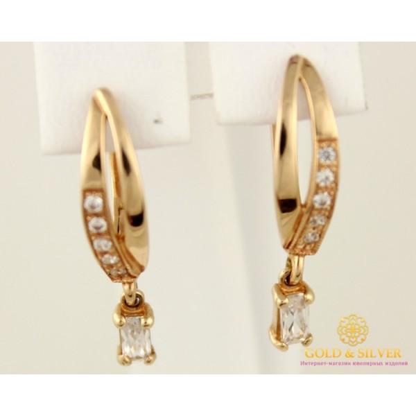 Золотые Серьги 585 проба. Женские серьги с красного золота с классической английской застежкой cv5802i , Gold & Silver Gold & Silver, Украина