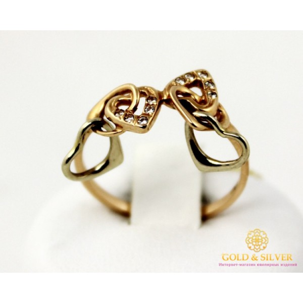 Золотое кольцо 585 проба. Женское Кольцо Сердце с красного золота. 330300 , Gold &amp Silver Gold & Silver, Украина