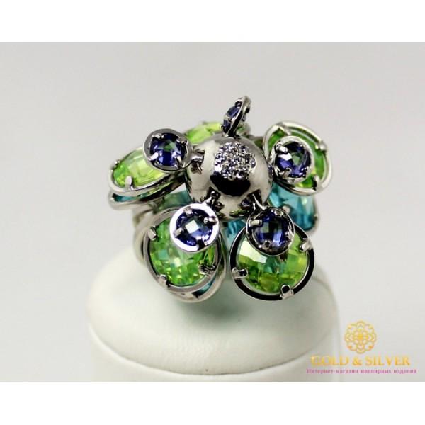 Серебряное кольцо 925 проба. Женское Кольцо Диско цветные камни. 360653c , Gold &amp Silver Gold & Silver, Украина