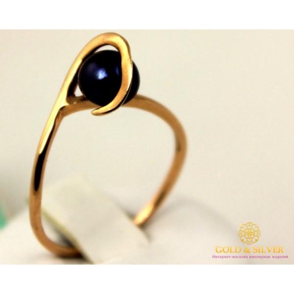 Золотое кольцо 585 проба. Женское Кольцо с красного золота с вставкой черного жемчуга. 1,76 грамма. kv4766 , Gold &amp Silver Gold & Silver, Украина
