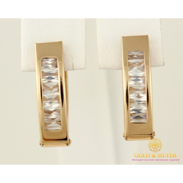 Золотые Серьги 585 проба. Женские серьги с красного золота, с кубическим цирконием багет 470326 , Gold & Silver Gold & Silver, Украина