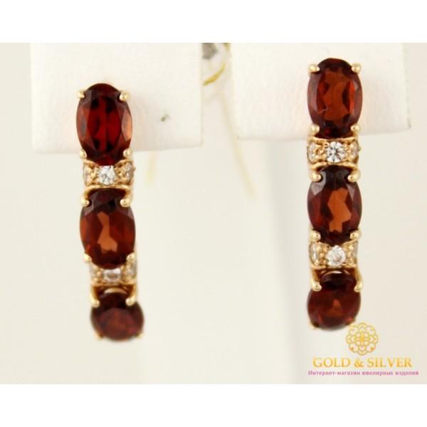 Золотые серьги 585 проба. Женские серьги с красного золота, с вставкой Гранат 444021 , Gold & Silver Gold & Silver, Украина
