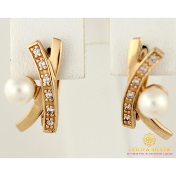 Золотые Серьги 585 проба. Женские серьги с красного золота, с вставкой белый Жемчуг 23185 , Gold & Silver Gold & Silver, Украина