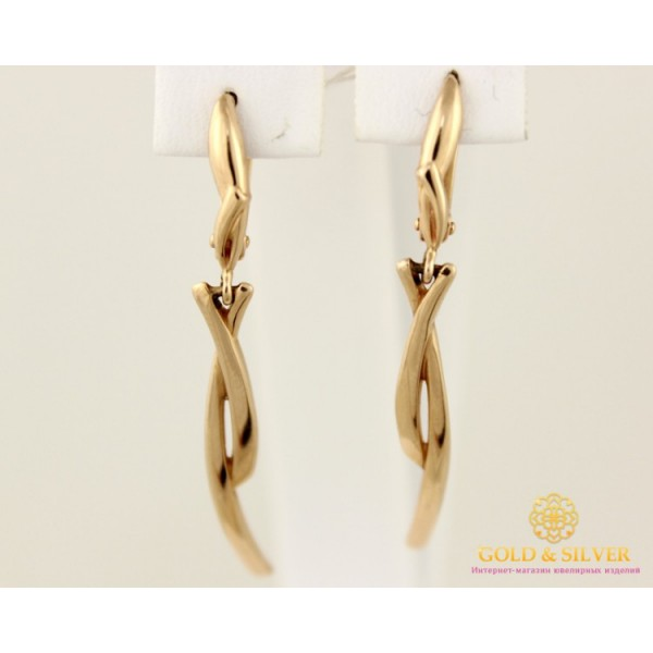 Золотые Серьги 585 проба. Женские серьги с красного золота, Танец без камней 23181 , Gold & Silver Gold & Silver, Украина