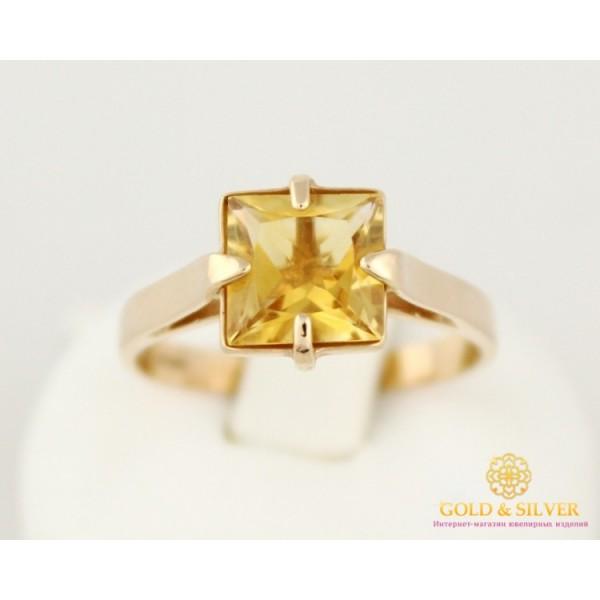 Золотое кольцо 585 проба. Женское Кольцо Цитрин с красного золота. 6521510 , Gold &amp Silver Gold & Silver, Украина