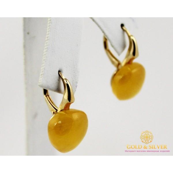 Серебряные Серьги 925 проба. Женские серебряные серьги Сердце с вставкой Кальцит 516830 , Gold & Silver Gold & Silver, Украина