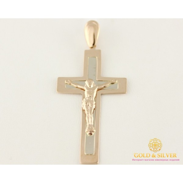 Золотой Крест красное и белое золото прямоугольный 210045 , Gold &amp Silver Gold & Silver, Украина