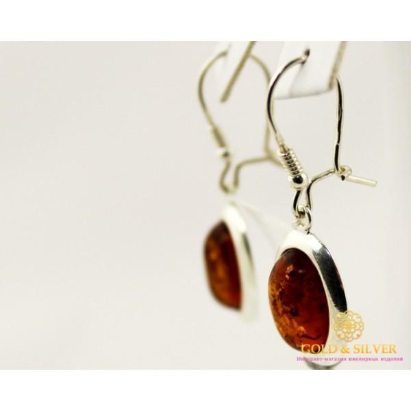 Серебряные Серьги 925 проба. Женские серебряные серьги Янтарные 002 , Gold &amp Silver Gold & Silver, Украина