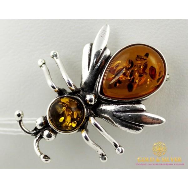 Серебряная Брошь 925 проба. Брошка Пчела Янтарная br2  , Gold & Silver Gold & Silver, Украина