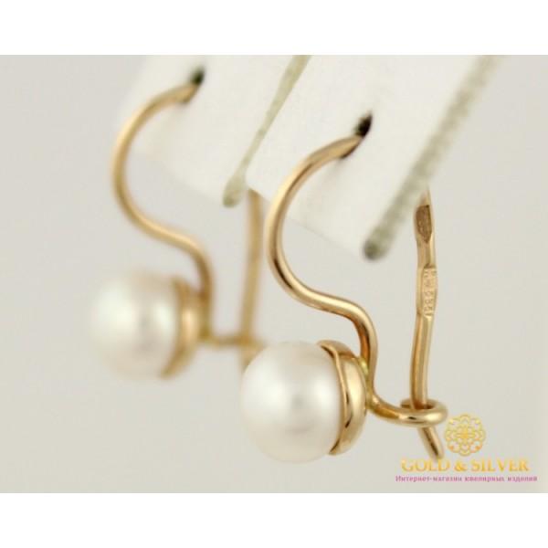 Золотые Серьги 585 проба. Детские серьги с красного золота, с вставкой Жемчуг dc008i , Gold &amp Silver Gold & Silver, Украина