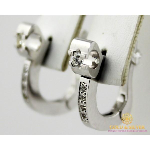 Золотые Серьги 585 проба. Женские серьги с белого золота, Замок, с вставкой Бриллиант 22232 , Gold &amp Silver Gold & Silver, Украина