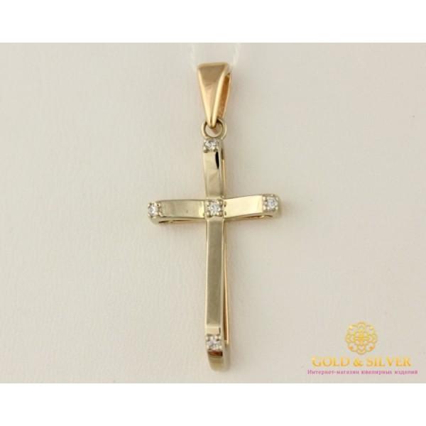 Золотой Крест 585 проба. Крестик с красного и белого золота, с вставкой Бриллиант 35710 , Gold & Silver Gold & Silver, Украина