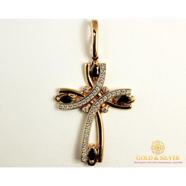 Золотой Крест 585 проба. Крест с красного золота и белого золота, рассыпь камней. kp108010i , Gold & Silver Gold & Silver, Украина