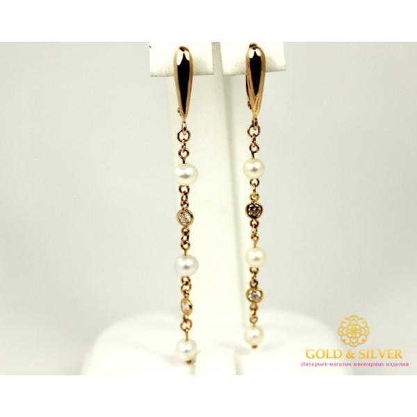 Золотые Серьги 585 проба. Женские серьги с красного золота, с вставкой Жемчуг 480057 , Gold & Silver Gold & Silver, Украина