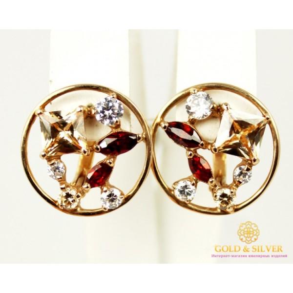 Золотые Серьги 585. Женские серьги в красного золота, с вставкой Фианит Разноцветные 20188 , Gold & Silver Gold & Silver, Украина