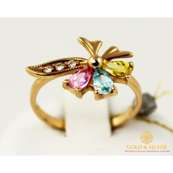 Золотое Кольцо 585 проба. Женское кольцо с красного золота Цветок. 320656 , Gold &amp Silver Gold & Silver, Украина