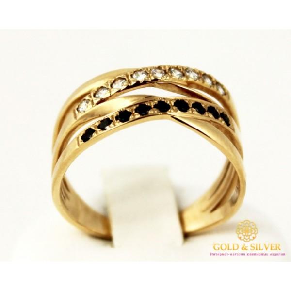 Золотое кольцо 585 проба. Женское Кольцо широкое с красного золота с вставкой белых и черных камней. 3,88 грамма. kv830010i , Gold & Silver Gold & Silver, Украина