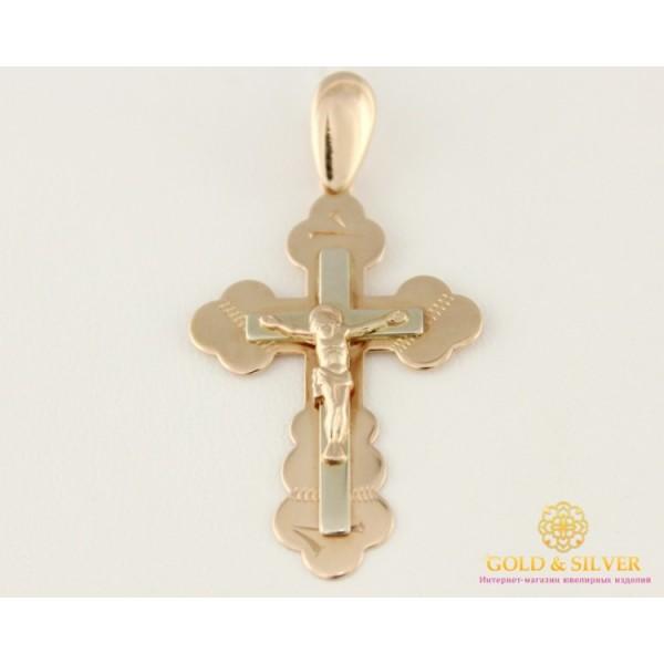 Золотой Крест 585 проба. Крест с красного и белого золота 210039 , Gold &amp Silver Gold & Silver, Украина
