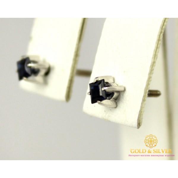 Золотые Серьги 585 проба. Женские серьги с белого золота, Пуссеты, с вставкой Сапфир 22099 , Gold & Silver Gold & Silver, Украина