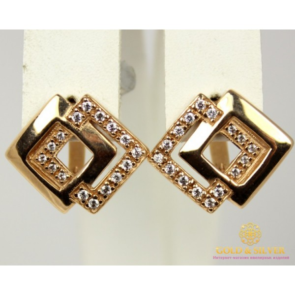 Золотые Серьги 585 проба. Женские серьги с красного золота, с вставкой Фианит 23125 , Gold &amp Silver Gold & Silver, Украина