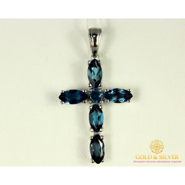 Серебряный Крест 925 проба. Крест с вставкой Лондон Топаз 3660p1 , Gold & Silver Gold & Silver, Украина
