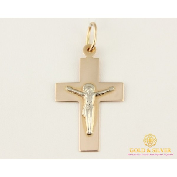 Золотой Крест 585 проба. Крест с красного и белого золота, широкий. 230087 , Gold &amp Silver Gold & Silver, Украина