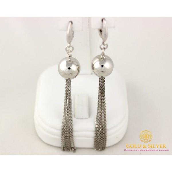Серебряные Серьги 925 проба. Женские серьги шары с цепями. 470128с , Gold & Silver Gold & Silver, Украина