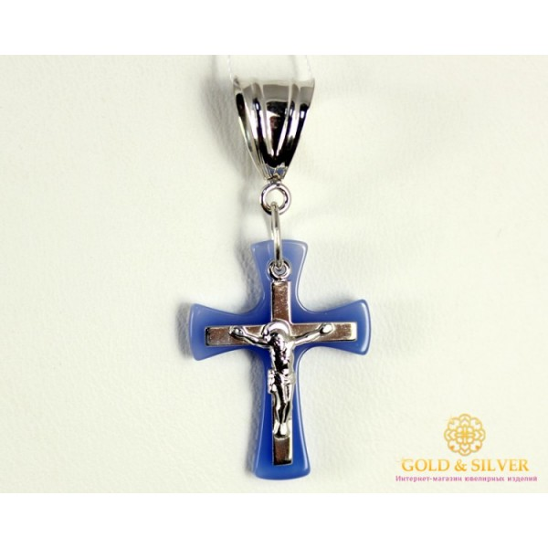 Серебряный Крест 925 проба. Женский крестик с Агатом. 1720032c , Gold & Silver Gold & Silver, Украина