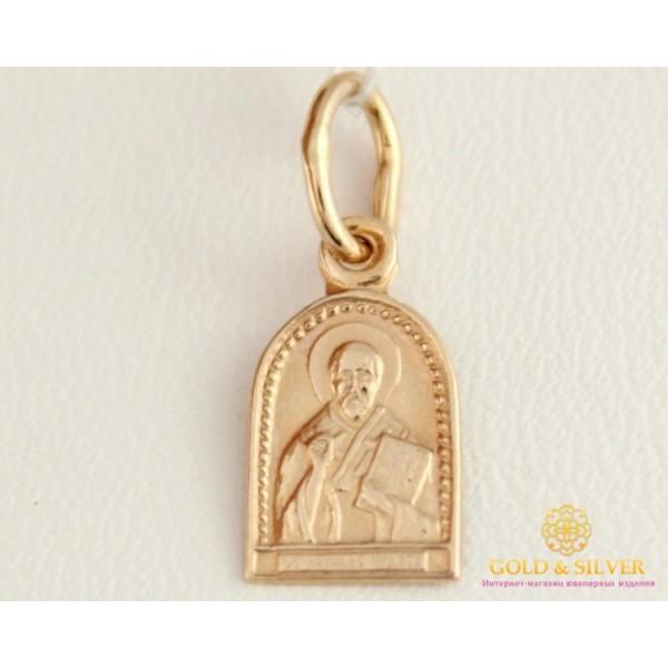 Золотая Нательная Икона 585 проба. Подвес с красного золота, Святой Николай Чудотворец 100403 , Gold & Silver Gold & Silver, Украина