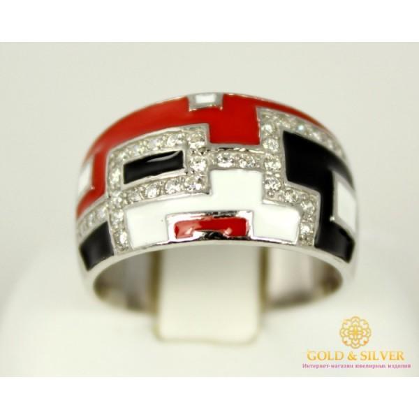 Серебряное кольцо 925 пробы. Женское Кольцо с вставкой красной и черной эмалью. 1493ek , Gold &amp Silver Gold & Silver, Украина