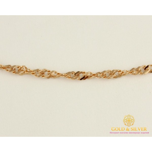 Золотая Цепь 585 проба. Цепочка с красного золота, плетение Сингапур с алмазной гранью, 55 сантиметров. 50127203051(55) , Gold & Silver Gold & Silver, Украина
