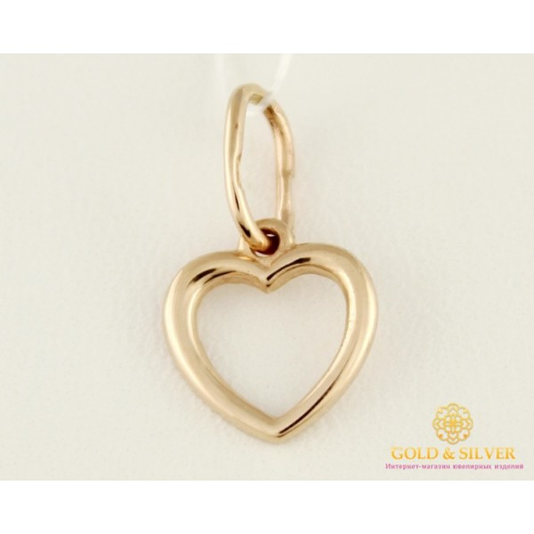Золотой Кулон 585 проба. Подвес с красного золота, Сердце. pb083i , Gold & Silver Gold & Silver, Украина