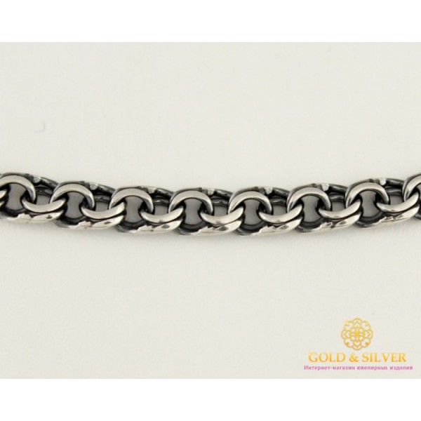 Серебряная Цепь 925 проба. Мужская серебряная цепь, плетение Бисмарк Плоский, 60 сантиметров 50522 , Gold & Silver Gold & Silver, Украина