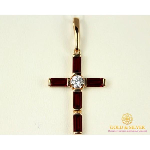 Золотой Крест 585 проба. Женский крест с вставкой камней Swarovski kp105i , Gold & Silver Gold & Silver, Украина