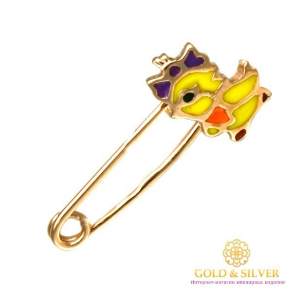 Золотая Детская Булавка 585 проба. Булавка с красного золота, Цыпленок Эмаль bw106i , Gold & Silver Gold & Silver, Украина