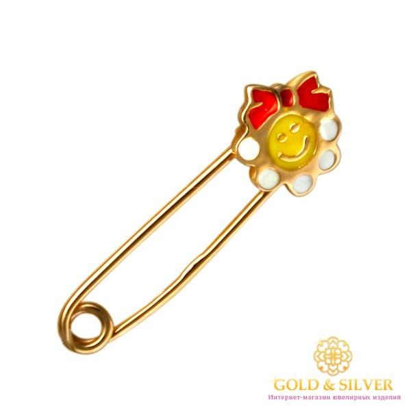 Золотая Детская Булавка 585 проба. Булавка с красного золота, Улыбка Эмаль bw108i , Gold & Silver Gold & Silver, Украина
