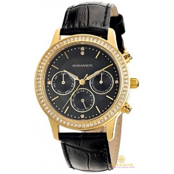 Женские Часы Romanson, черный ремешок, золотистый циферблат. RL0382TLG BK , Gold &amp Silver Gold & Silver, Украина