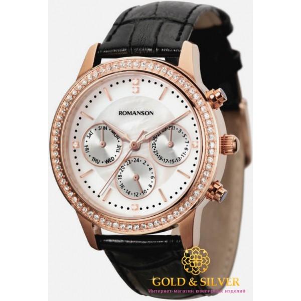 Женские Часы Romanson, черный ремешок, белый циферблат. RL0382TLRG WH , Gold & Silver Gold & Silver, Украина