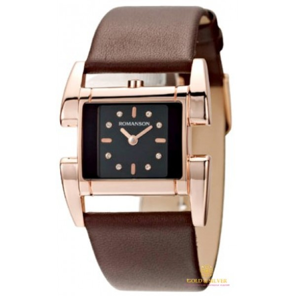 Женские Часы Romanson, коричневый ремешок. RL1201LRG BK , Gold & Silver Gold & Silver, Украина