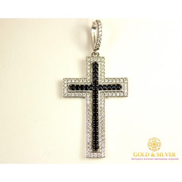 Серебряный крест 925 проба. Итальянский Крест с черными и белыми камнями. 3626р , Gold & Silver Gold & Silver, Украина