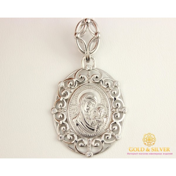 Серебряная Нательная Икона 925 проба. Подвес серебряный ажурный, Божья Матерь  160193с , Gold & Silver Gold & Silver, Украина
