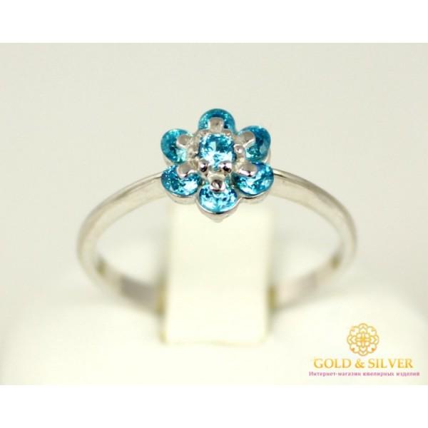 Серебряное кольцо 925 проба. Женское серебряное Колечко Цветок Голубой 320940с , Gold & Silver Gold & Silver, Украина